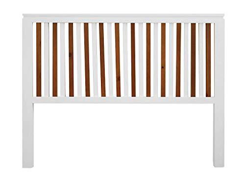 PEJECAR cabecero Modelo daimiel para Cama de 105 Fabricado en Madera Maciza de Pino insigni con largueros Verticales Combinados Acabado en Blanco Satinado