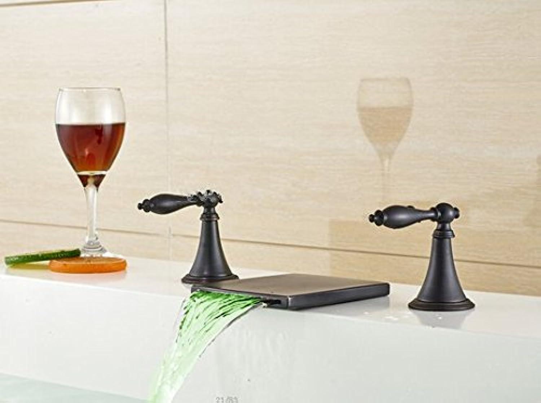 Gowe LED l eingerieben Bronze Wasserfall Waschbecken Wasserhahn Dual Griffe Spüle Mixer