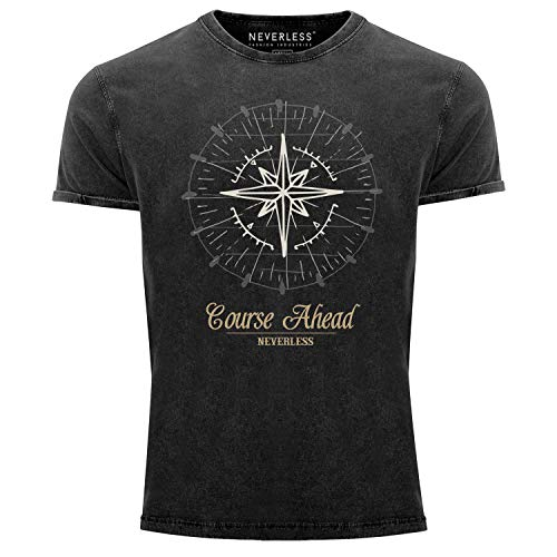 Neverless® Herren T-Shirt Vintage Shirt Printshirt Kompass Windrose Used Look Slim Fit schwarz L
