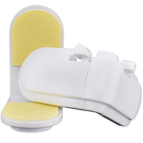 2 x NEVEQ Barnlås för barnsäkerhet och barnskydd. Inga verktyg behövs – enkel applicering på kökslåda, skåpdörr, garderob och skåp. (L – formad, rektangulär)