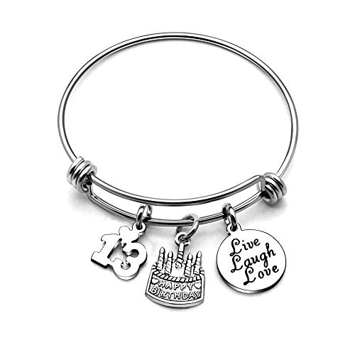 AGR8T Bangle Bracelets Gifts for Her Happy Birthday Bangles Cake Live Laugh Love Charms Women Girl (13th Birthday)