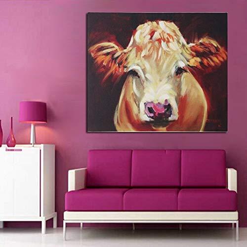 tzxdbh Schilderij, handbeschilderd, dieren, olieverfschilderij, kleine schattige koeien, abstract, quardro, cadeau, kunst, werk, decoratie voor thuis 50x80cm Geen frame