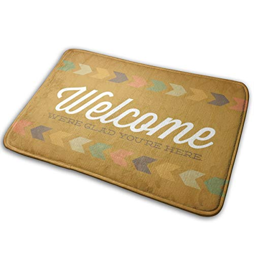 Unusual Bathroom Rugs, Welcome in Yellow Back Non-Slip Bath Mats, Beautiful Best Absorbent Shower Carpet for Office Powder Room Rear Door