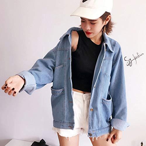 QiKun-Home Abrigo de Mezclilla clásico de Estilo Coreano para Mujer Tops de Ajuste Relajado Chaqueta de Mezclilla de Manga Larga Cuello Vuelto Outwear Azul Claro Azul Claro Grande