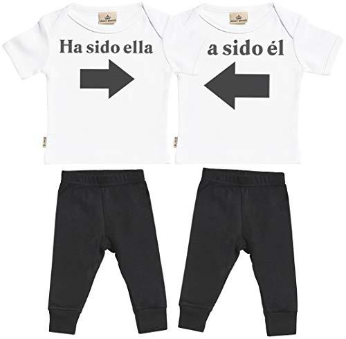 SR - Ha Sido él & Ha Sido Ella - Conjunto Gemelo - Regalo para bebé - Blanco Camiseta para bebés & Negro Pantalones para bebé - Ropa Conjuntos para bebé - 0-6 Meses