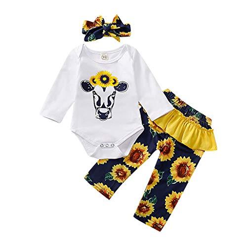 Baby-Top, langärmlig, für Babys, Kinder, Cartoon, Romper Tops, Sunflower Floral Pants Outfits Set Langarm Tops für Kinder + Hose + Hut + Haarband, Schlauch, Weiß 6-12 Monate