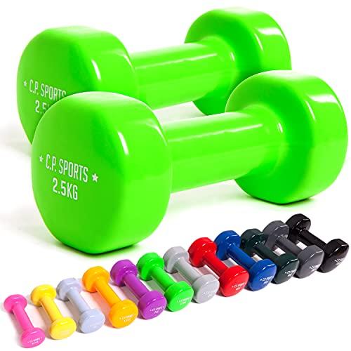 C.P. Sports Gymnastikhanteln 0,5KG bis 10KG - Kurzhantel, Vinyl Hanteln, Faust Hantel, Gewichte, Fitness (Set-0,5 + 0,75 + 1 KG)