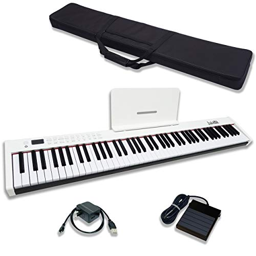 Dulcette DC11 88-Key Portable Piano Keyboard | Built-In Amplifying Speakers | Semi-Weighted Keys | Sustain Pedal & Power Supply MIDI/USB | Electric Keyboard Piano 88-Keys | FREE CARRYING BAG (White)