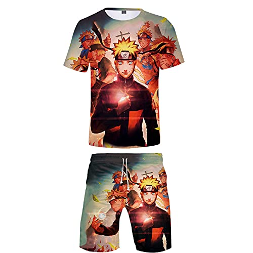 ZOSUO 3D Print NARUTO T-Shirts Boys Youth Short Sleeve And Shorts Outfits Cosplay Uzumaki Naruto Summer Suit Fashion Anime Cartoon Tracksuit,Multi colored,XL
