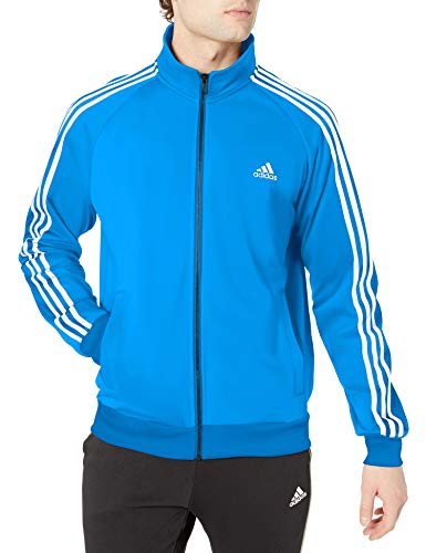 adidas Athletics Essentials 3 Stripes Tricot Track Jacket, Bright Blue/ White, XX-Large