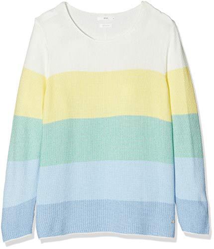 BRAX Damen Style Liz Soft Cotton Colour Block Pullover, Water, (Herstellergröße: 36)