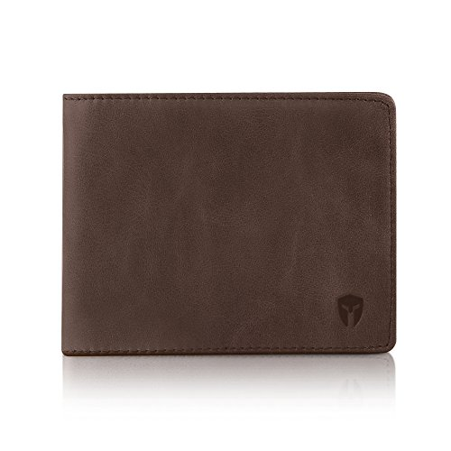 2 ID Window RFID Wallet for Men, Bifold Top Flip, Extra Capacity Travel Wallet (Texas Brown - Distressed Leather, Medium)