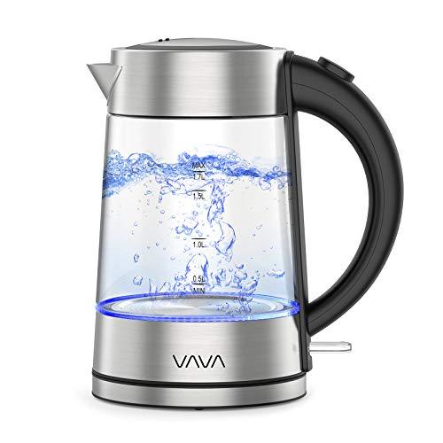 VAVA Glas Wasserkocher mit Edelstahl - Deckel, Schnelles Wasserkochen für Tee und Kaffee, LED-Beleuchtung, Cool-Touch-Griff, Auto-Abschaltung, Trockenlaufschutz, 1,7L, 2200W