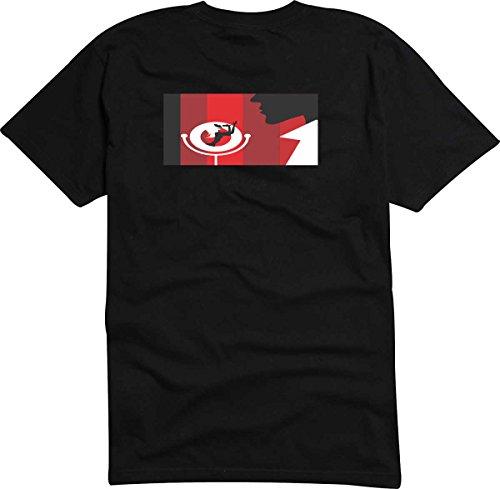 T-Shirt - Camiseta D725 Hombre negro con la impresión en color Color de la opción S - diseño Tribal cómico / abstracto gráfico / hombre y canto muje con micrófono