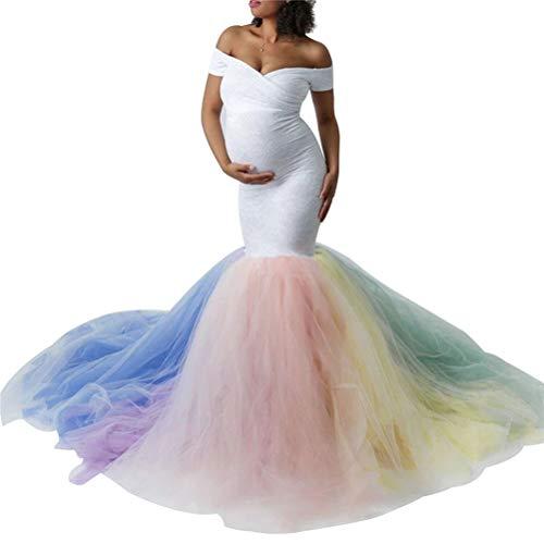 Chir Vestido de maternidad para fotografía de una pieza fuera del hombro maternidad encaje patchwork gasa vestido mujer embarazada para sesión de fotos