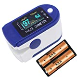 VRcast ® Pulse Oximeter Fingertip VRC01 Oxygen Saturation Monitor, SpO2 and Heart Rate Monitoring with LED Display (Blue-White)