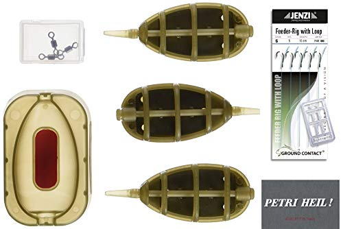 method Feeder Set avec 5 Feeder Rigs 12 pièces + GRATIS Petri Heil. Autocollants
