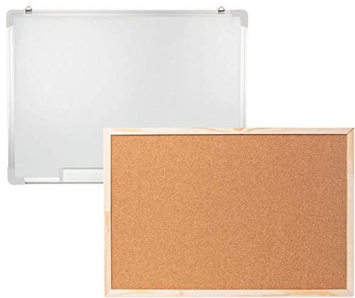 Harlington Group - Juego de pizarras blancas y tableros de corcho para anuncios, oficina, escuela, hogar, lluvia de ideas, 600 mm x 400 mm