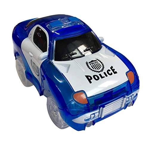YYhkeby Coche de policía Mini Coche Modelo de Juguete con LED Intermitente Iluminación de Carreras de batería para niños niños (Azul) Jialele