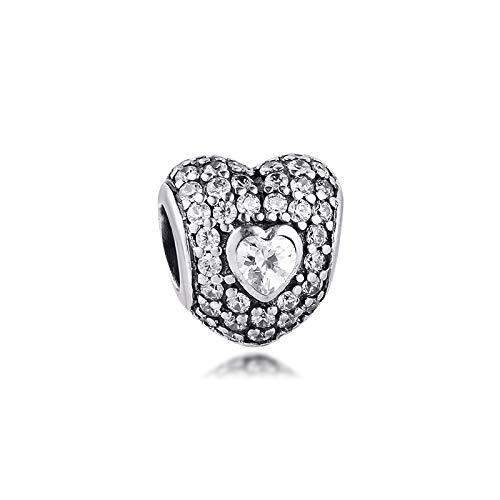 LILANG Pulsera de joyería Pandora 925, Cuentas Naturales adecuadas para Plata esterlina Genuina, Abalorios de Triple corazón para Mujer, Regalo DIY