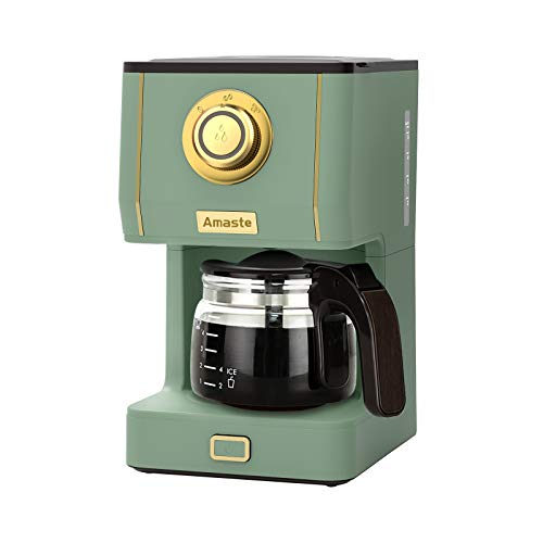 Amaste Drip Coffee Maker, Coffee Machine with 25 Oz Glass Coffee Pot, Retro Style Coffee Maker with Reusable Coffee Filter & Three Brewing Modes, 30minute-Warm-Keeping, Matcha Green
