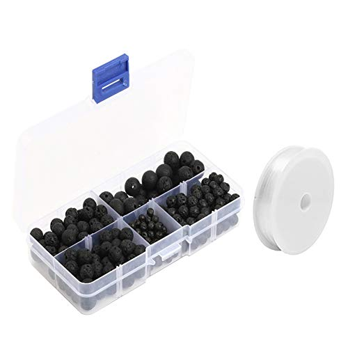 Perles de Lave Kits,Feelava 300 Pièces Noir Perles de pierre de lave Rond Perles Courroie avec 1 Rouleau élastique cristal Cordon et boîte de rangement en plastique pour Artisanat,Taille de mélange