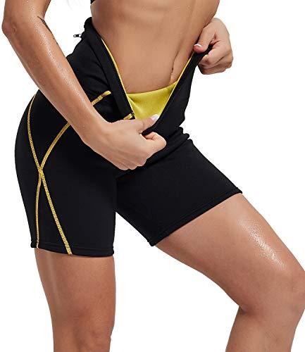IFLOVE Pantalones Cortos de Sauna para Mujer Deportivos de Cintura Alta, Pantalones térmicos para Perder Peso con Bolsillo, Entrenamiento, Mallas de Yoga para Adelgazar, Moldeador de Muslos