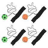 NUOBESTY 4 bolas de muñeca deportivas con cuerda de goma fluorescente de alta rebote, alivio de la rigidez de la muñeca, ejercicio, deportes, partido de juguete para niños y adultos