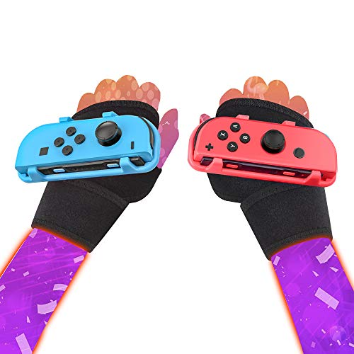 ZONSK Wristband JoyCon Grips for Just Dance 2021 2020 2019 Switch Games, Elastic Strap Hand Free Accessories, Small Size for Kids (Red+Blue)