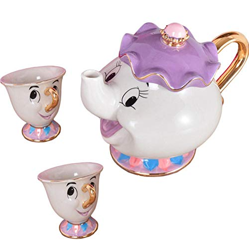 SYART Cartoon Beauty and The Beast Mug Mrs Potts Chip Cup Coffee Tea Set Porcelana 18K Tetera de cerámica chapada en Oro Regalo de San Valentín, 1pot 2cups