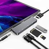 USB C HUB para iPad Pro, adaptador 7 en 1, para iPad Pro 2021 2020 2018 12.9 /11 pulgadas, con HDMI 4K, carga USB-C PD, lector de tarjetas SD / TF, USB 3.0, 3.5 mm Tomas de auriculares, accesorios