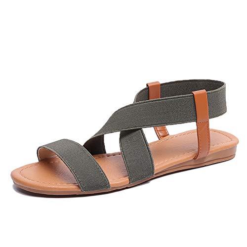 SANMIO Damen Sandalen Sommer Elastischen Flach Frauen Bohemia Sandals Strand Sommerschuhe