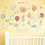 manyaxiaopu Palloncini Colorati Simpatici Conigli Combinazione Camera dei Bambini Armadio Asilo Decorazione Cartoni Animati Adesivi Murali Rimovibili 105X72 Cm