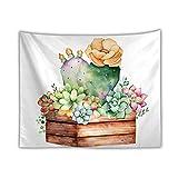 BD-Boombdl Tapiz colgante de pared planta de acuarela cactus en maceta decorativo arte de pared fondo dormitorio decoración del hogar 59.05'x39.37'Inch(150x100 Cm)