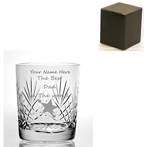 Personalizado grabado corte cristal ml vaso de Whisky con el diseño de mejor papá en el mundo–Caja de regalo