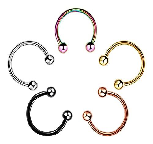 X/L 5 piercings para nariz, septum, 16 g, 6/8 / 10 mm, acero quirúrgico, anillo de herradura, perla para nariz, labio, tragus, hélice y joyería para hombres (color: bola, tamaño: 8 mm)