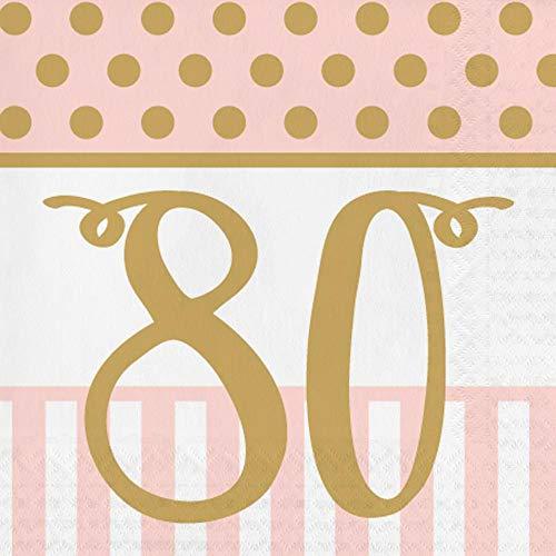 Creative Party PJ034 - Tovaglioli per il pranzo, 80 pezzi, colore: rosa e oro, 20 pezzi