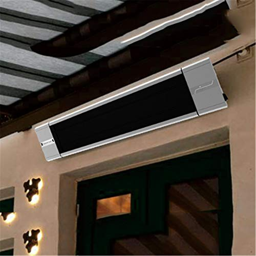 WSN 2400W Electric Patio Heater, infrared electric heater, 2 levels adjustable, IP55 waterproof rating, Can be wall-mounted or hung,Gray