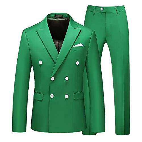 MOGU Uomo Alta Sartoria Blazer Completo da Uomo Giacca e Pantaloni Slim Fit Elegante Formale Nero Blu Rosso Doppio Petto a Righe 2 Pezzi Taglia da 42 a 56 IT S (Asian M) Verde Mela