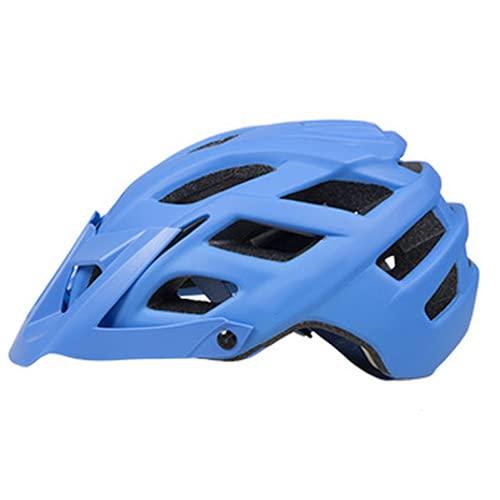 QIUBD Casco De Bicicleta Ajustable para Hombres Y Mujeres, Casco De Seguridad con Visera Desmontable para Bicicleta De Montaña Y Ciclo De Carretera, Ciclismo BMX (Blue,L(58-62CM))