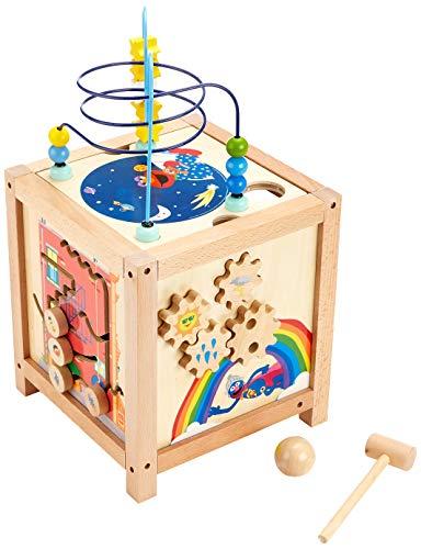 Small Foot- Rue Sesame Cube de motricité en Bois, pour Enfants à partir de 18 Mois, Un Amusant Jouet, 10974, Multicolore - Version Allemande
