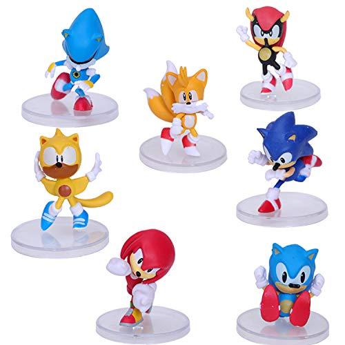 Sonic Dolls - Juego de 7 figuras de juguete de Sonic Sonic The Erizo Pequeña 6 Supersonic Mouse Card Set