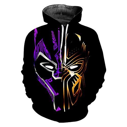 SVFD Avengers Kapzuenpullover Máscara de Pantera de ORO púrpura Digitaldruck Mode Casual Caliente Unisex Hoodie Endspiel MCU Movie Superhero Team Black-3X-Large