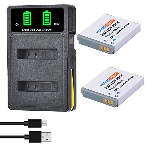 PowerTrust NB-6L NB-6LH - Batteria con caricatore per Canon Powershot SX710, SX700 HS, SX270HS, SX530, SX600hs, 1300is, S120 is, 260hs, 280HS, S200, SX170 is, S110, S120
