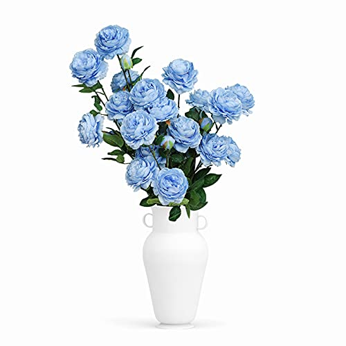 Uymaty Flores Artificiales,5PCS 3 Cabezas Flor de peonía Artificial Flor de Rosa de Seda Flor de plástico Falso para arreglos de Ramos de Boda,Fiesta en casa Decoración Interior al Aire Libre(Azul )