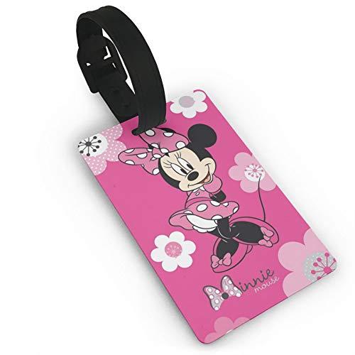 DNBCJJ Etiquetas de equipaje para maletas Minnie Mouse con etiqueta de equipaje de flores, con nombre ID maleta para mujeres, hombres, niños, accesorios de viaje
