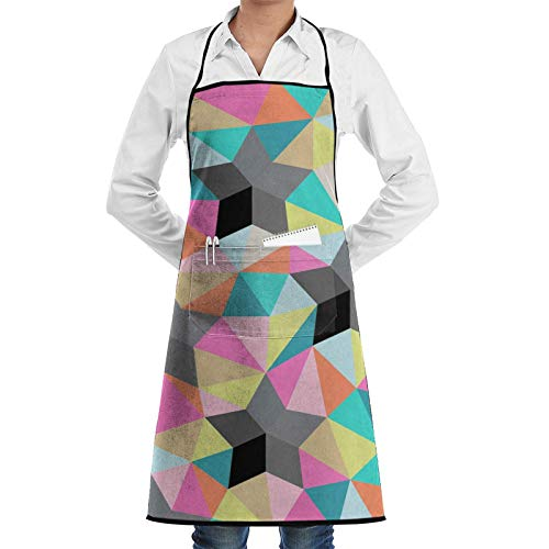 QUEMIN Delantales para mujeres, hombres, coloridos, mampostería con bolsillos, ajustable, divertido, barbacoa, chef, delantal de cocina