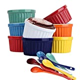 Souffle Dish Ramekins for Baking – 6 Ounce (Set of 8, Assorted Colors with 8 Extra Spoons) 6 Oz, 3.5-inch Ceramic Oven Safe Round Bowl for Creme Brulee Dessert Pudding Custard Cup Ice Cream Lava Cake