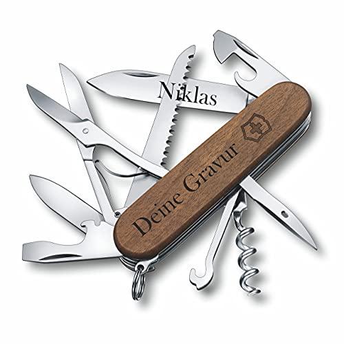 Victorinox Taschenmesser Huntsman Wood aus Holz mit Gravur I Geschenk für Männer Frauen I zum Geburtstag I Schweizer Taschenmesser personalisiert Griff Klinge (Gravur am Griff)