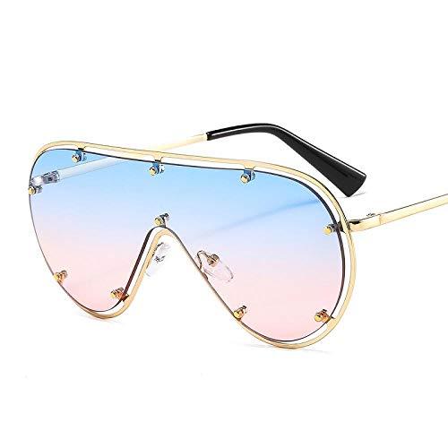 chuanglanja Gafas De Sol Mujer Aesthetic Gafas De Sol Ovaladas De Gran Tamaño Para Mujer Gafas De Sol Con Remache De Marco Grande y Espejo Vintage Gafas De Conducción UV400-Color-F